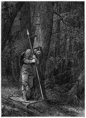 Man with spear, leaning against tree in forest